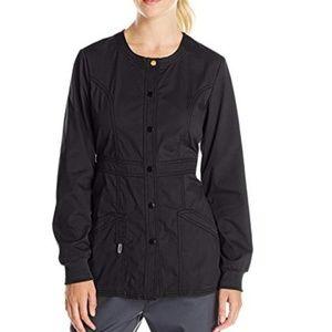 Tops - Code happy black snap front scrub jacket M